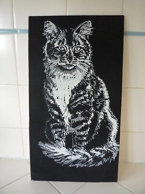 "Vintage Tabby Cat Art Print Black Light Poster Cardboard 7.5 x 13.5"" Main Coon"