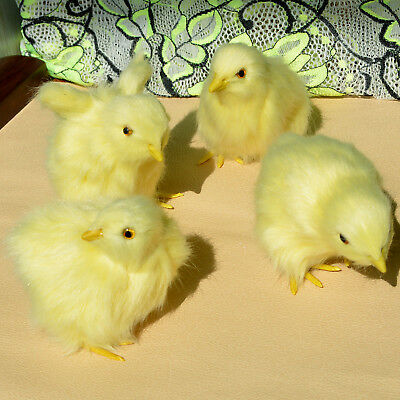 4 x Realistic Lifelike Baby Chicks Synthetic Chicken Spring Easter Photo Prop