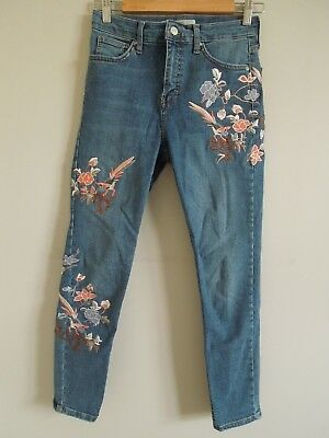 Women's Topshop Blue Moto Jaime Embroidered Jeans Size W28 L30