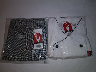 Lot Of 2 New 2Xl Black And White Checkered Chef Works Chef Pants And White Coat