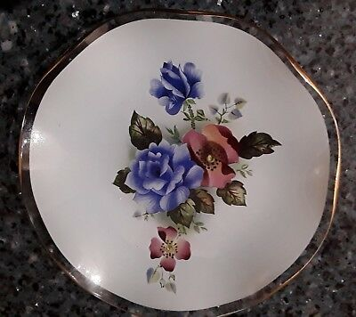 Glass Coloured Scalloped Round Plate/Pin dish with Flowers