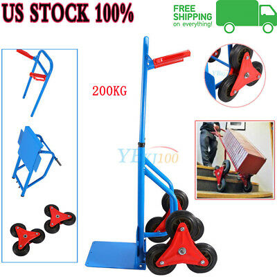 440lb Heavy Duty 6 Wheel Climbing Stair Moving Hand Sack Truck Warehouse Cart US