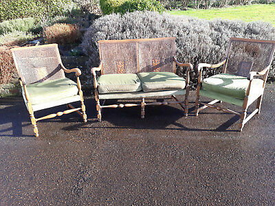 Bergere Chairs and Sofa 1930s set.