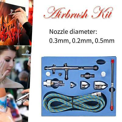 0.2/0.3/0.5mm Dual-Action Spray Airbrush Kit with 3 Cups for Cake Nail Art Model