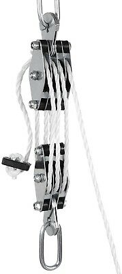 Pulley Block W/ 20 M Powerful Nylon Rope and Steel Rope Lifting Heavy Loads