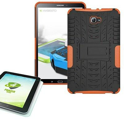 Hybrid Outdoor Cover Orange for Samsung Galaxy Tab a 10.1 T580 +0.4 Tempered