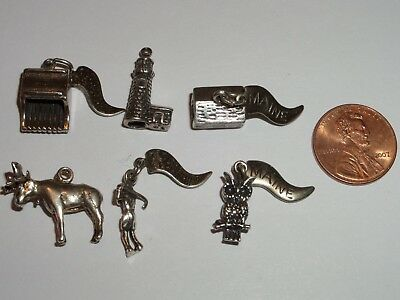 6 Sterling Silver Charms Lot Maine Themed Moose, Lighthouse,blueberry Rake&more