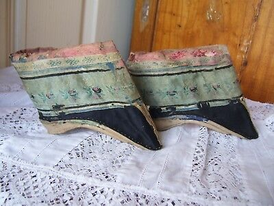 Antique Qing Dynasty Lotus Shoes for Bound Feet -Silver Lotus 4 inches.