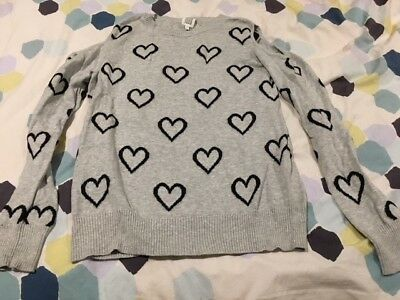 Seed Teen Grey Jumper with black hearts and shoulder cut-outs size 12