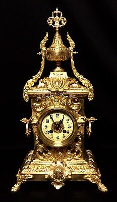 Beautiful Japy Freres Large French Antique Gilt Solid Bronze Clock 19Th C