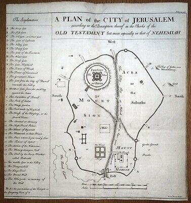 JERUSALEM city plan, ISRAEL, HOLY LAND E. Bowen large original antique map c1760