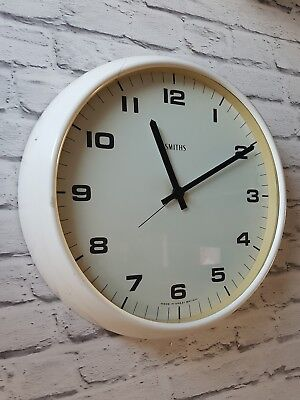 Mid century large smiths factory industrial wall clock white retro vintage