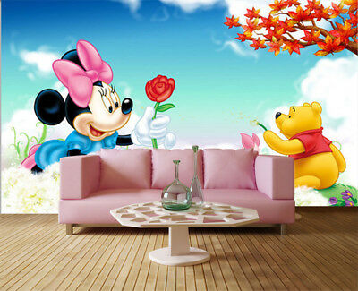 Pulpy Pink Mickey 3D Full Wall Mural Photo Wallpaper Printing Home Kids Decor