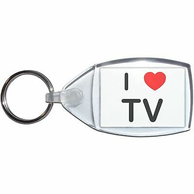 I love TV - Clear Plastic Key Ring Size Choice New