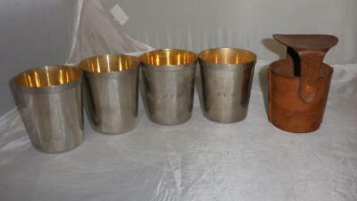 Vintage/Antique Silver Plate Travel Cups Set Of 4 With Leather Case 'J.F.H.'