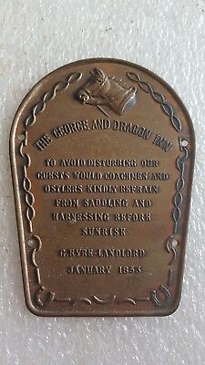 Vintage George and Dragon Inn Brass Wall Plaque Sign Equestrian Western Horse