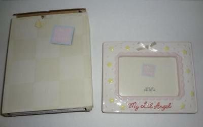 Photo Picture Frame Baby Girl Russ Berrie Earthenware 3 x 5 Ceramic NIB