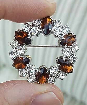 Vintage Jewellery Lovely Sparkling Clear & Citrine Crystal Rhinestone Brooch Pin