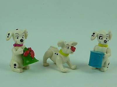 3 x Disney 101 Dalmations Figures.  5.5 - 8cm Tall With Bell, Can, And Flower