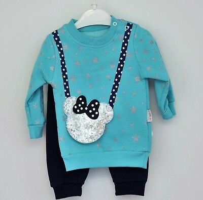 2PC Baby Girl Blue Mickey Kids Top+Trousers Set Clothes Outfit  9-12-18-24M