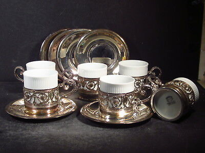Eberle Silverplate & Porcelain Brazil SET OF 6 EXPRESSO CUPS, SAUCERS & LINERS