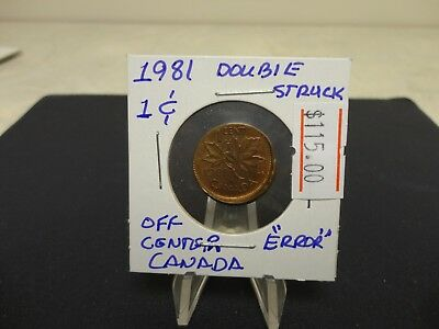 1981 Canada small cent , Double Struck off Center Mint Error , Gorgeous Coin