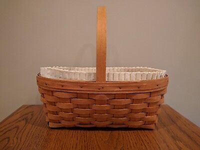 1994 Longaberger Stained Oval Easter Basket With Natural Liner, Protector & Lid