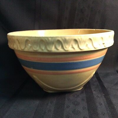 Antique McCoy blue & pink banded clay mixing bowl    ( I   2 )