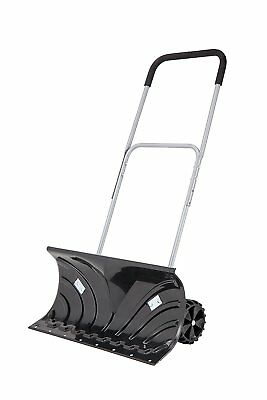 ORIENTOOLS Heavy Duty Rolling Snow Pusher with Wheels for clearing your driveway