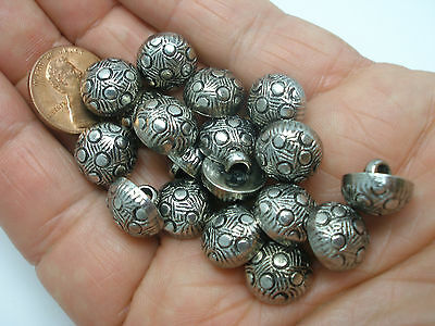 New Lot of 12 Electroplated 1/2 in(12mm) Plastic Silver Ornate Dome Buttons (#B)