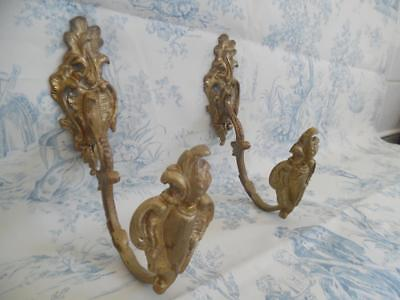 PAIR GENUINE ANTIQUE FRENCH BRASS CHATEAU CURTAIN TIE BACK/HOOKS Late 1800's