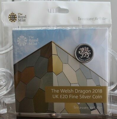 2018 * The Welsh Dragon £20 * Silver Coin * Royal Mint Experience Exclusive