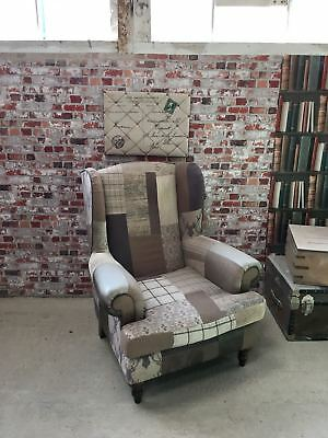 Dfs Chesterfield Style Country Patchwork High Wingback Stag Matching