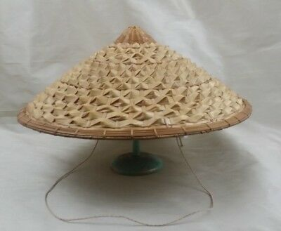 Vintage Chinese Asian Farmer Rice Paddy Coolie Bamboo Sun Straw Woven Hat Large