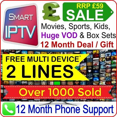 12 Month Smart IPTV Deal - UK, English, MAG, Android, IOS, SmartTV, M3U- RRP £59