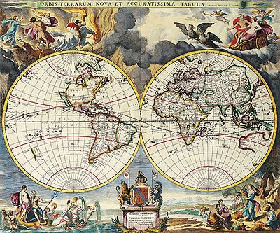 Map of the World Double Hemisphere 1680 A2+ High Quality Canvas Art Print