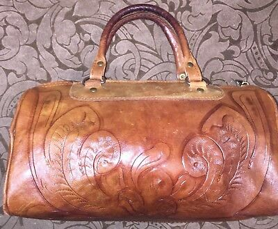 Vintage Western Tooled Leather Purse Handbag Small Zipper Closure