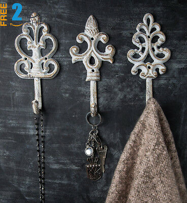 Shabby Chic Cast Iron Decorative Wall Hooks - Rustic - Antique - French...