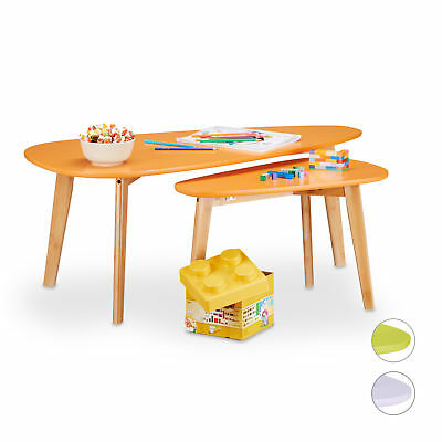 Table d'appoint colorée rétro lot de 2 tables gigognes enfant vintage table bass