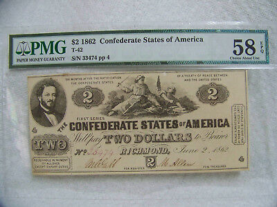 T-42 PMG 58 EPQ, 1862 $2 Confederate States of America, Choice About Unc.