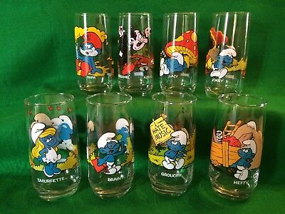 Smurfs Vintage 1982 Complete Set Of 8 Glass Tumblers By Peyo for Hardees