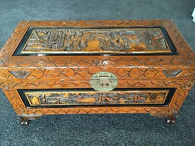 40 Year Old Beautiful Wood Carved Asian Camphor Chest