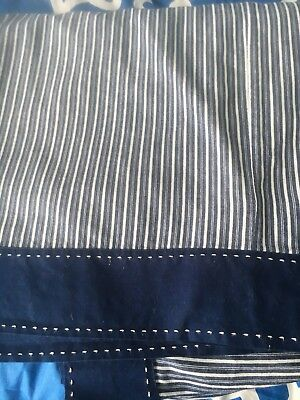 Pottery Barn - Navy Striped Crib Skirt/dust Ruffle