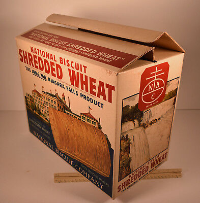 Antique National Biscuit Shredded Wheat Large Advertising Display Box Graphics