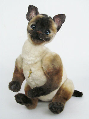 "Artist Signed Mary Wimberley 11"" 200? Plush Fur Jointed Siamese Cat Doll"