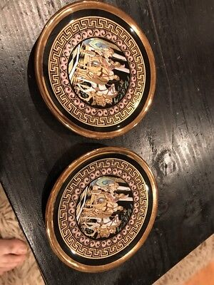 Vtg Greek Pottery Pair Of Saucers Replica Hellenic Art Greece Museum BC Copy