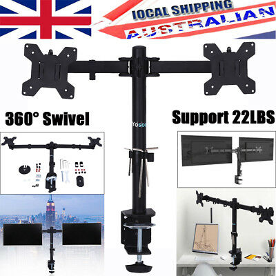 "13-27"" Dual Arm Monitor LED LCD Screen VESA Display Bracket Stand Desk Mount"