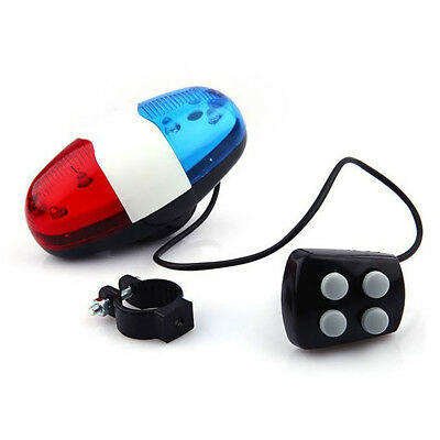 Electric Horn Cycling Bicycle Police Siren Bell 6 LEDs Lights Bike Accessories