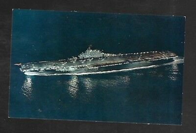 Vintage Postcard Military US Navy Ship Anti Submarine Carrier USS Antietam