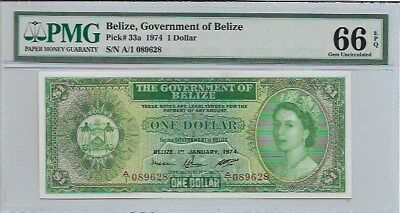 1974 One Dollar Belize/uncirculated/pmg 66